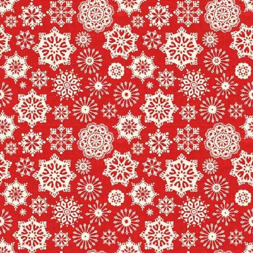 Makower Scandi Red Snowflake Christmas Fabric